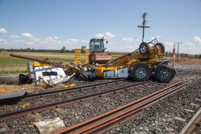 Damage to the truck that was struck by Northern Explorer Train. Courtesy of New
