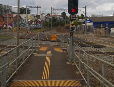 Morningside Drive pedestrian level crossing accident site. Credit TAIC.
