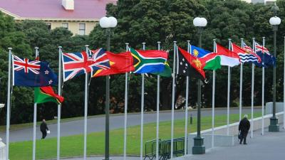 International flags on NZ Parliament forecourt
