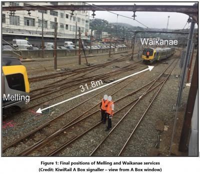 Photo from Report showing final positions of the two trains
