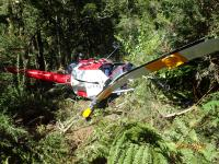 Photo of the wrecked helicopter at the accident site