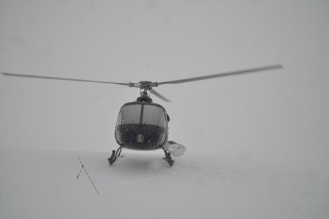 PHOTO - the helicopter parked on Chancellor Shelf above Fox Glacier