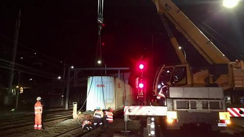 Photo of work to recover derailed wagon. Image | NZ Herald